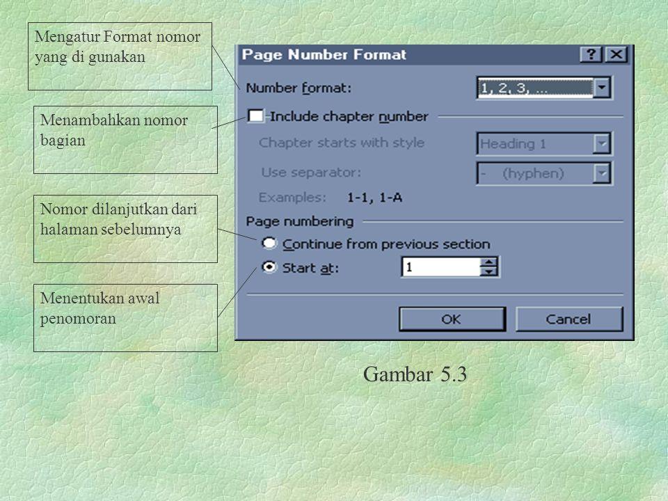 Gambar 5.3 Mengatur Format nomor yang di gunakan