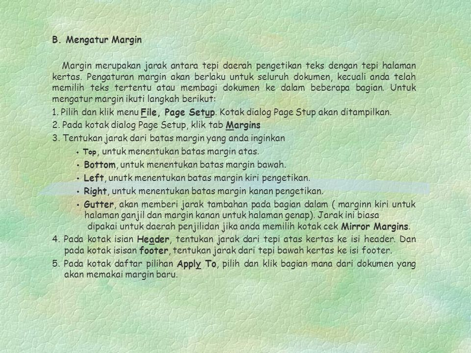 2. Pada kotak dialog Page Setup, klik tab Margins