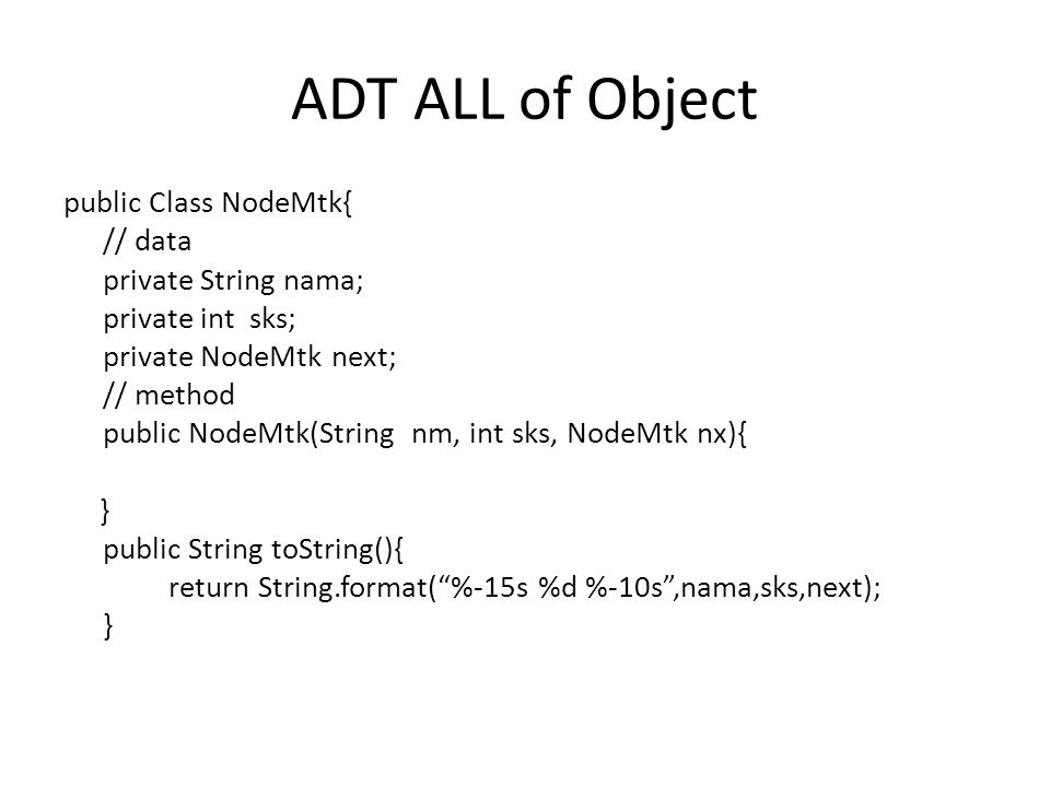 ADT ALL of Object