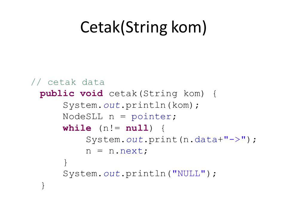 Cetak(String kom) public void cetak(String kom) {