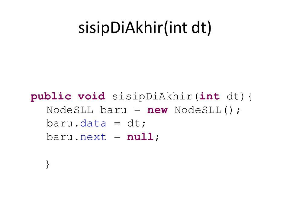 sisipDiAkhir(int dt) NodeSLL baru = new NodeSLL(); baru.data = dt;