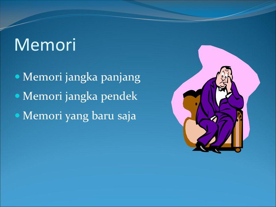 Memori Memori jangka panjang Memori jangka pendek
