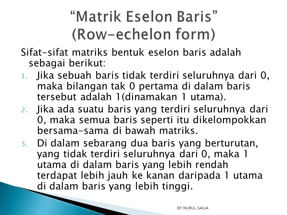 Matrik Eselon Baris (Row-echelon form)