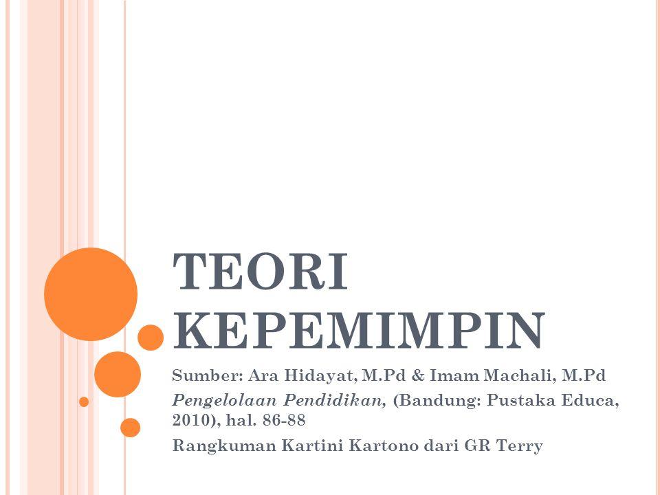 TEORI KEPEMIMPIN Sumber: Ara Hidayat, M.Pd & Imam Machali, M.Pd
