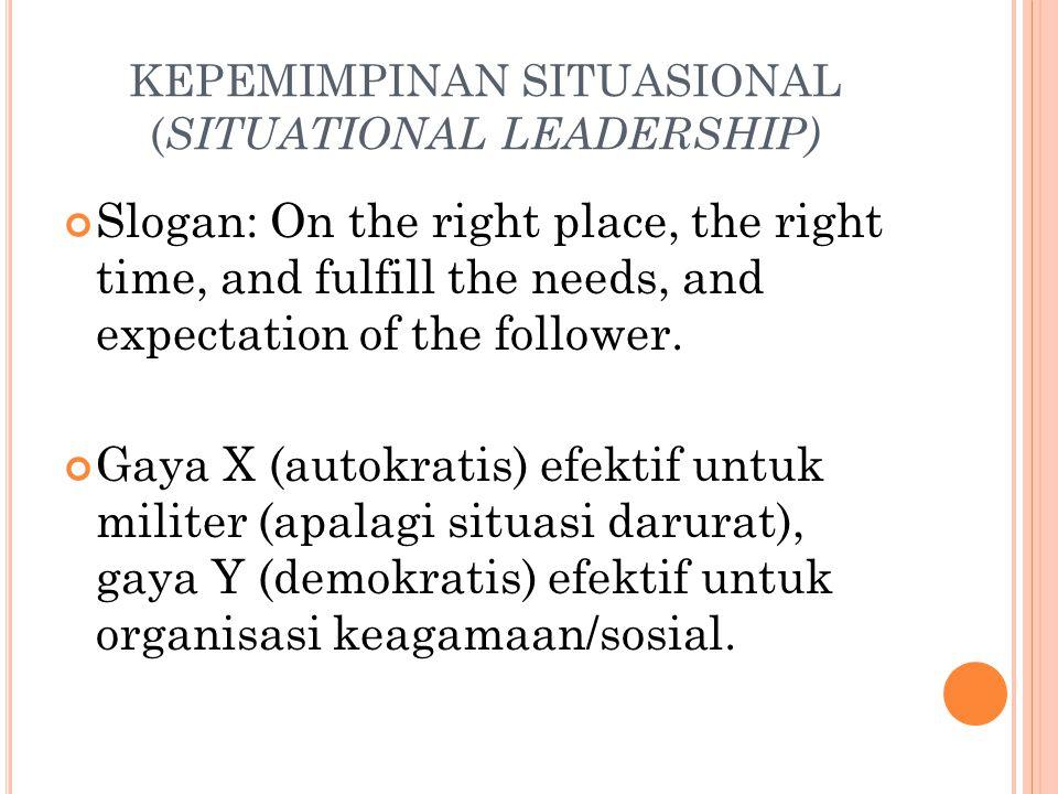 KEPEMIMPINAN SITUASIONAL (SITUATIONAL LEADERSHIP)