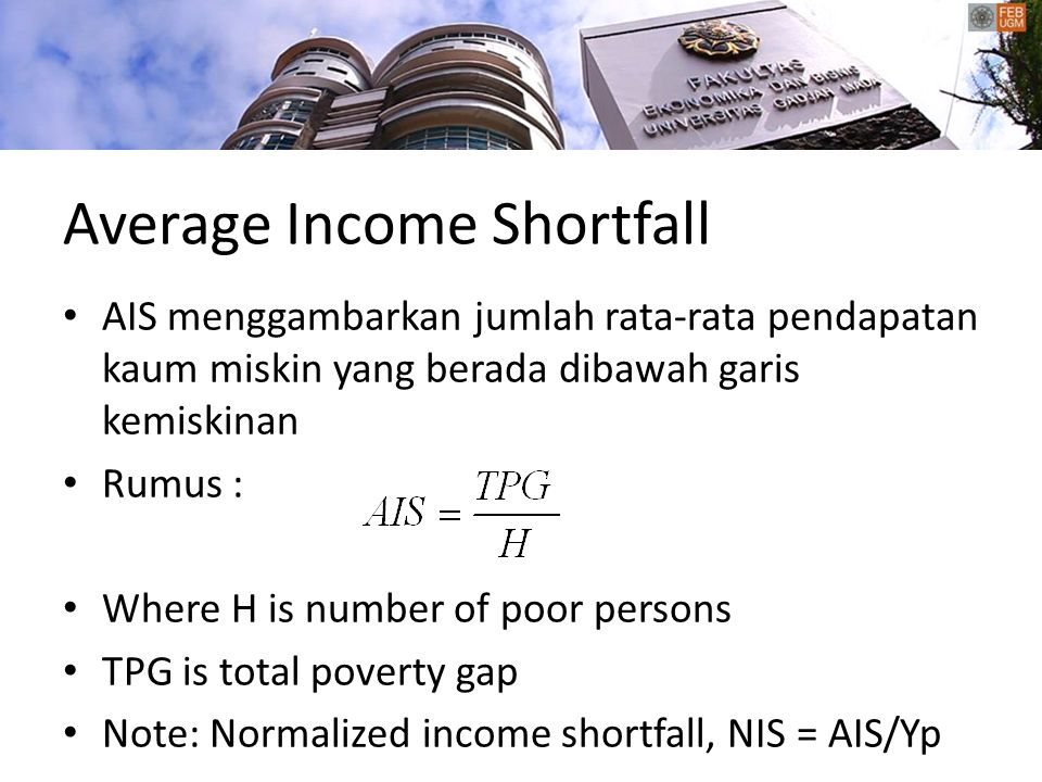 Average Income Shortfall
