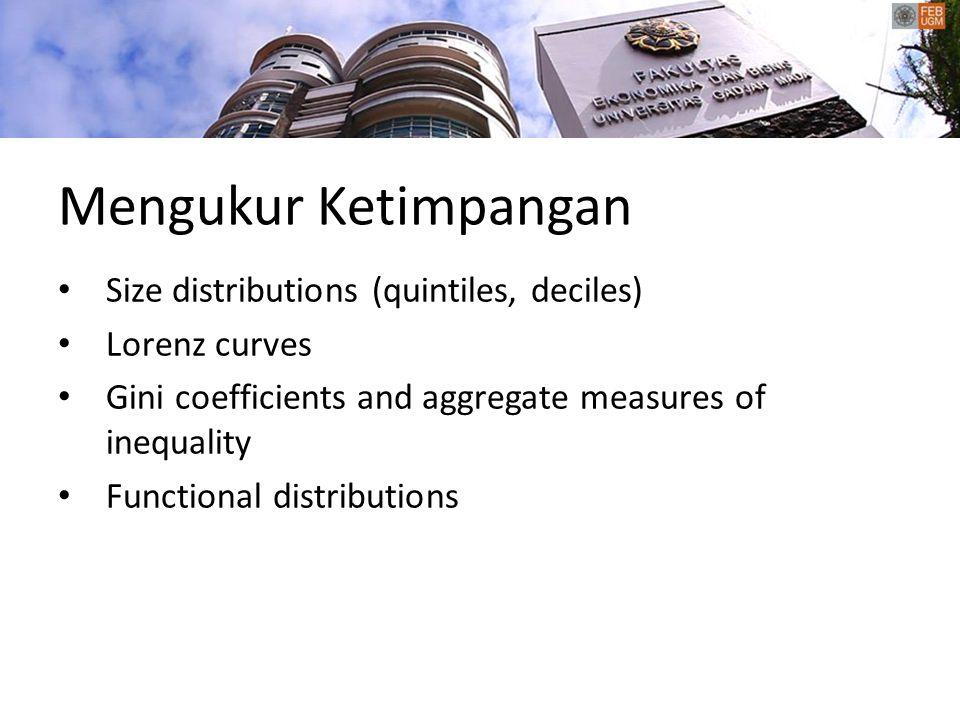 Mengukur Ketimpangan Size distributions (quintiles, deciles)