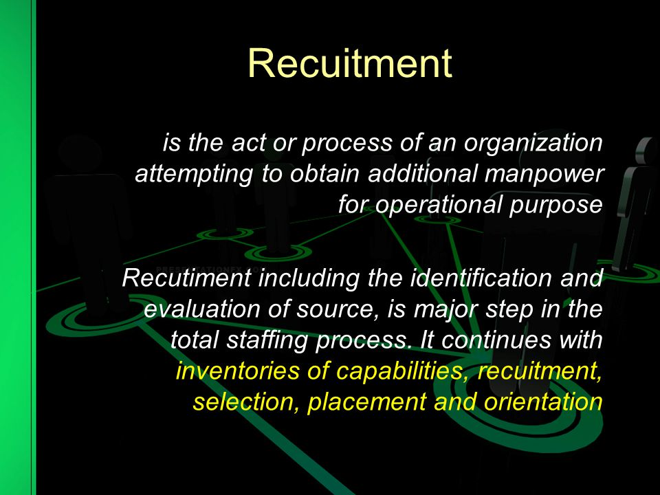 Recuitment is the act or process of an organization attempting to obtain additional manpower for operational purpose.