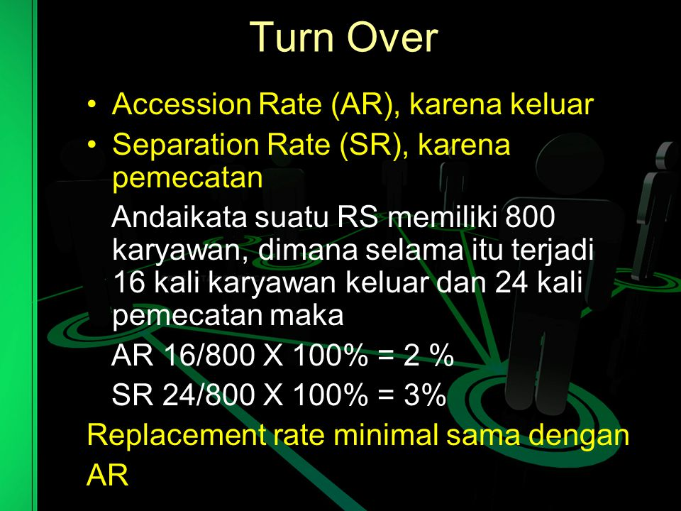 Turn Over Accession Rate (AR), karena keluar