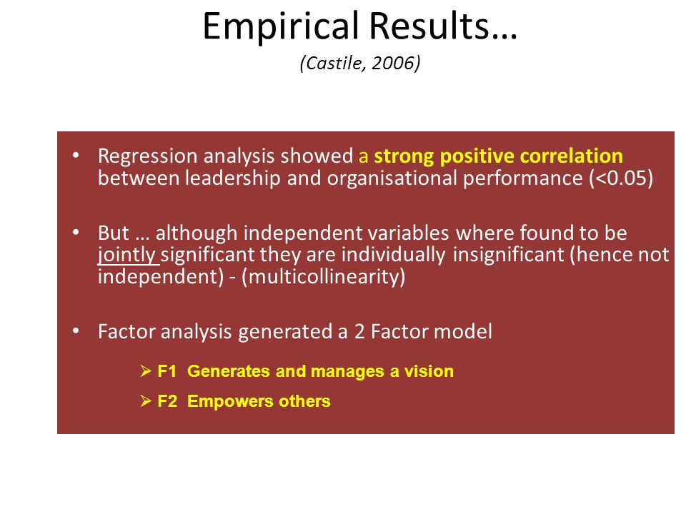 Empirical Results… (Castile, 2006)