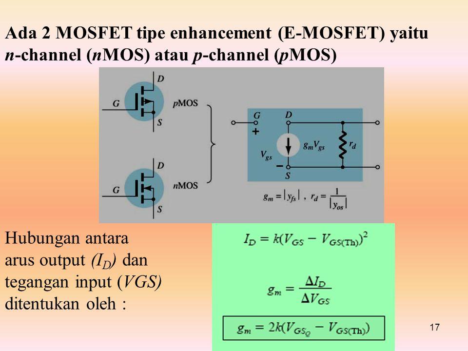 Ada 2 MOSFET tipe enhancement (E-MOSFET) yaitu n-channel (nMOS) atau p-channel (pMOS)