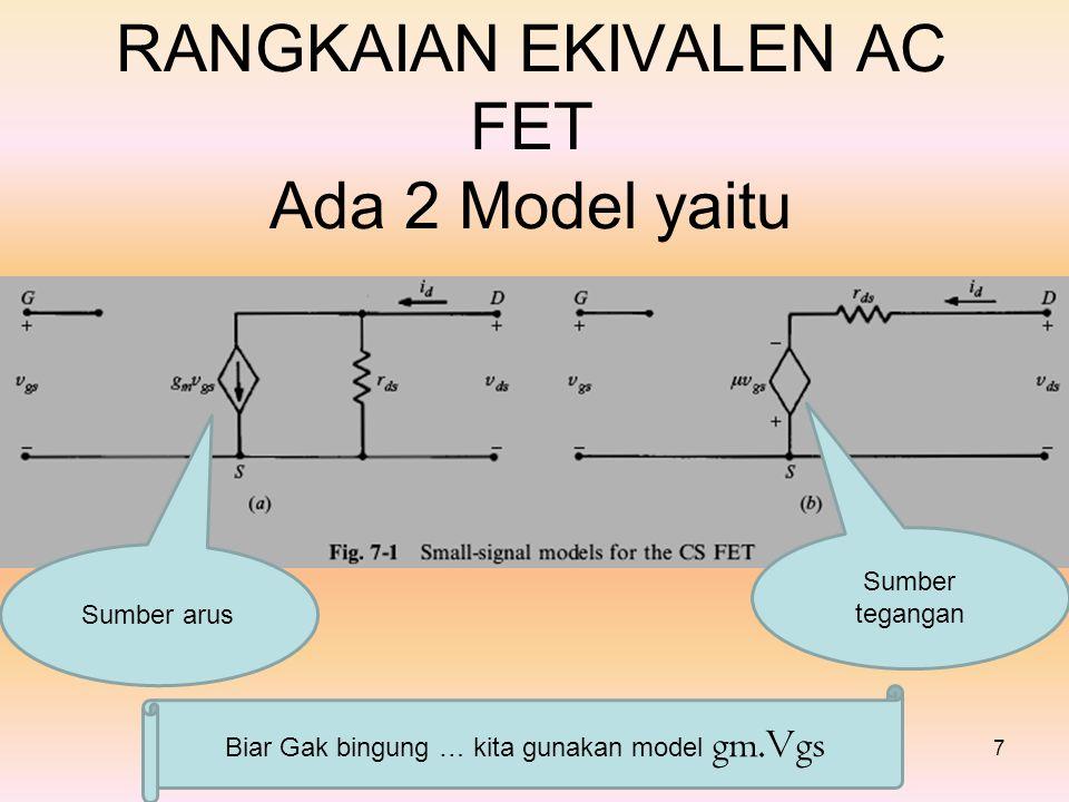 RANGKAIAN EKIVALEN AC FET Ada 2 Model yaitu