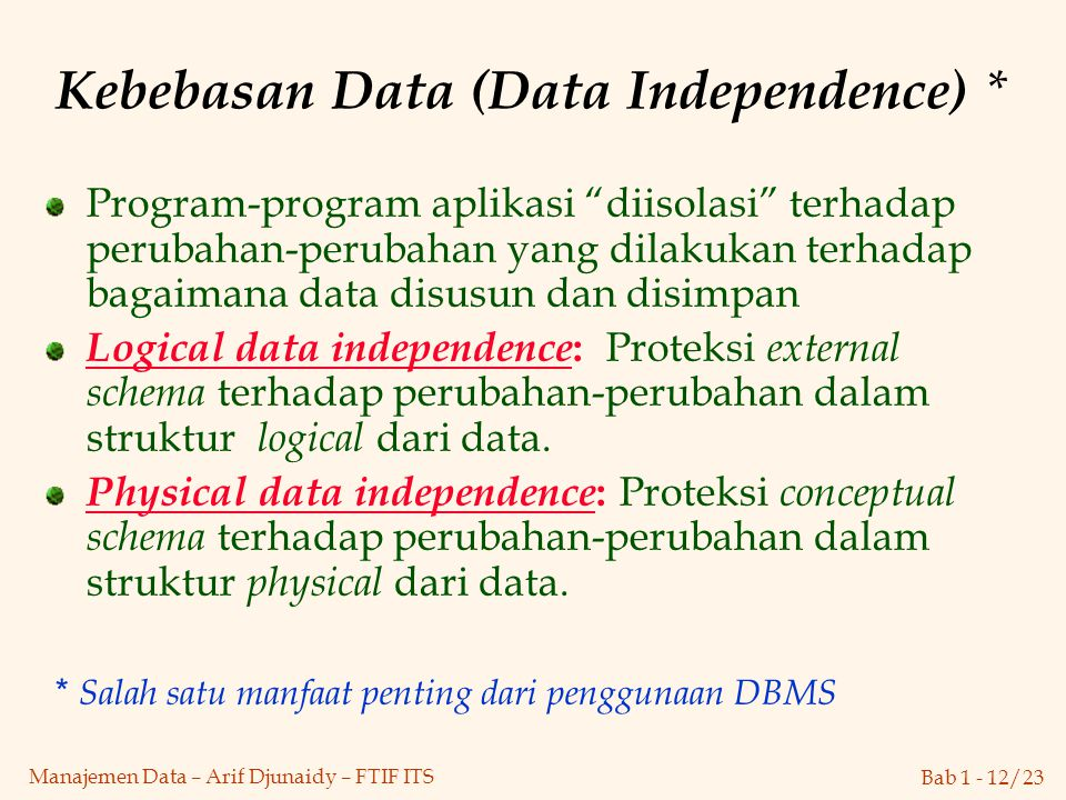 Kebebasan Data (Data Independence) *