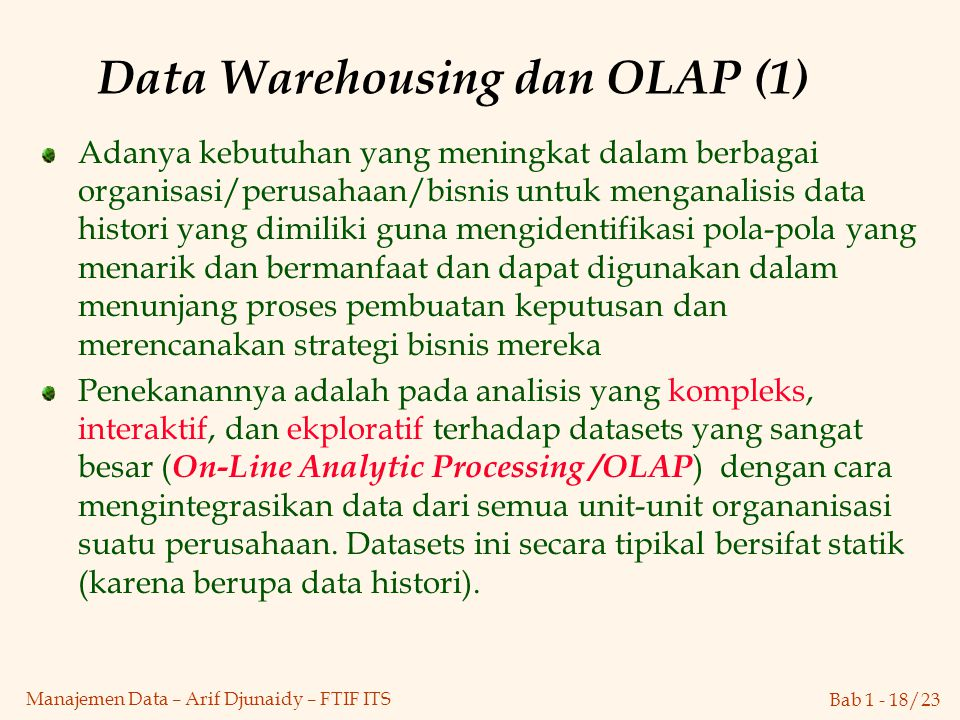 Data Warehousing dan OLAP (1)