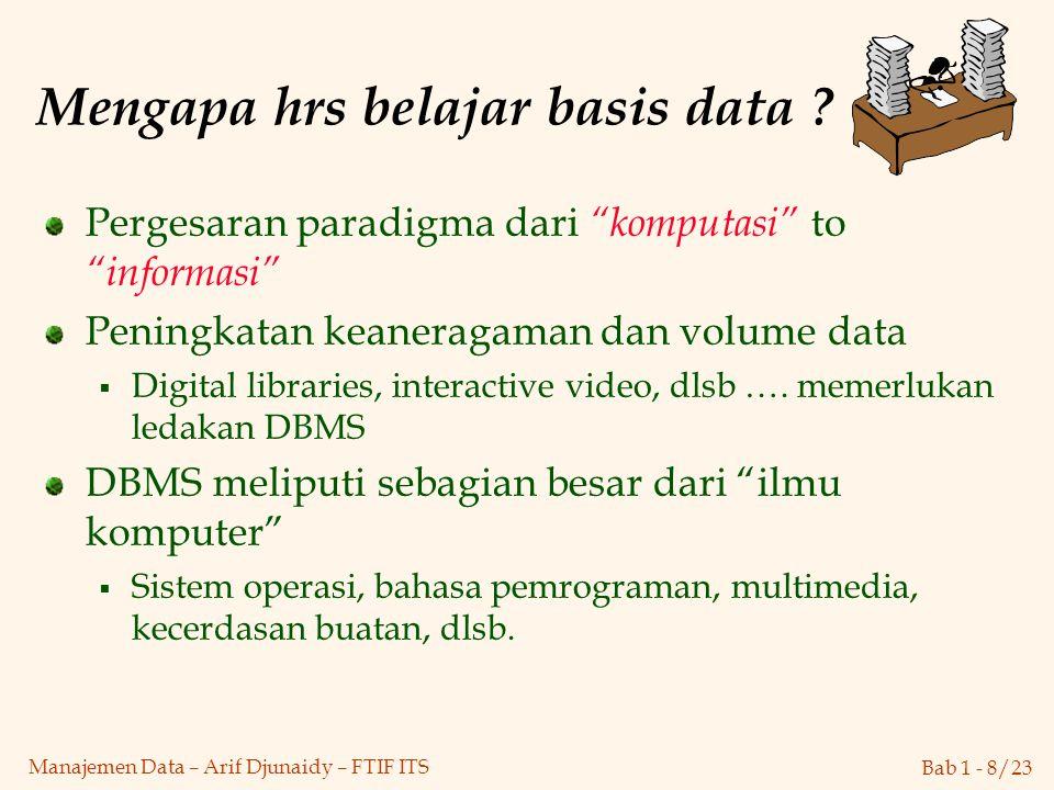 Mengapa hrs belajar basis data