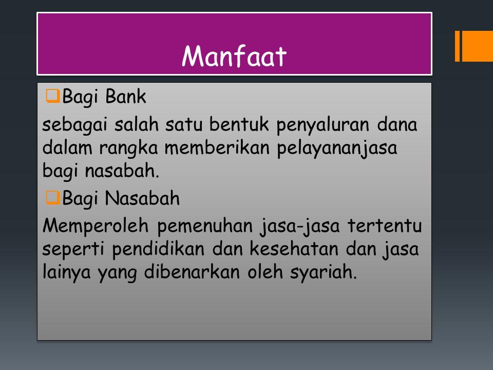 Manfaat Bagi Bank. sebagai salah satu bentuk penyaluran dana dalam rangka memberikan pelayananjasa bagi nasabah.