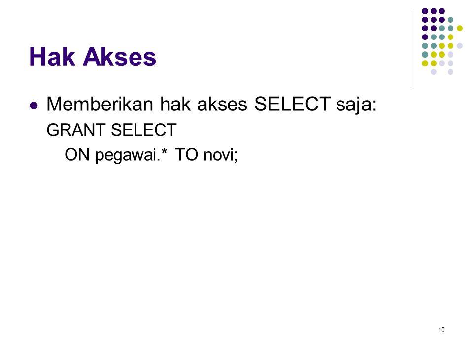 Hak Akses Memberikan hak akses SELECT saja: GRANT SELECT