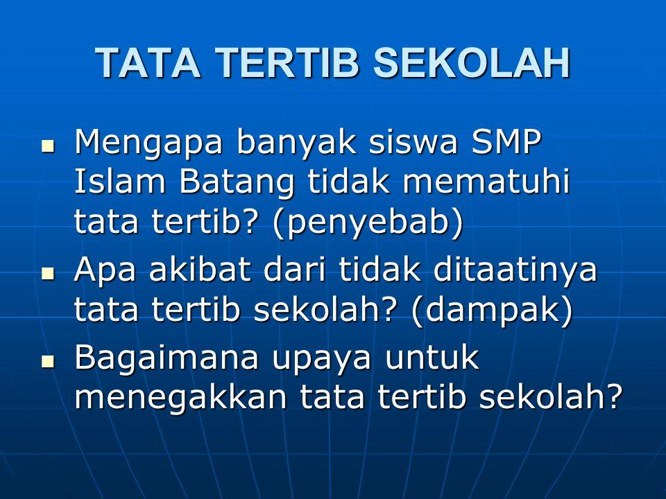 TATA TERTIB SEKOLAH Mengapa banyak siswa SMP Islam Batang tidak mematuhi tata tertib (penyebab)