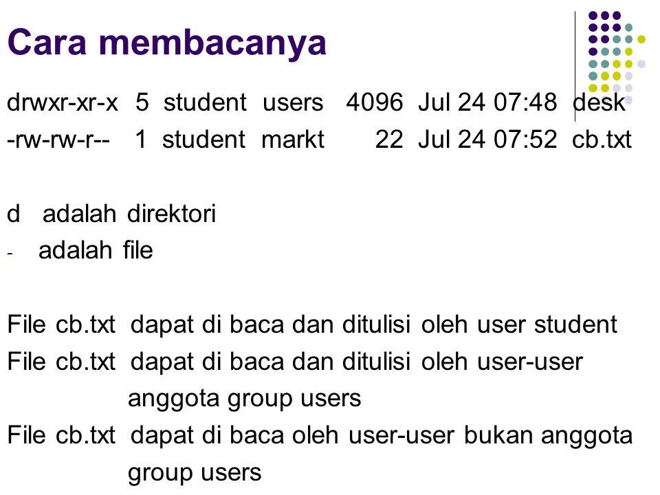 Cara membacanya drwxr-xr-x 5 student users 4096 Jul 24 07:48 desk