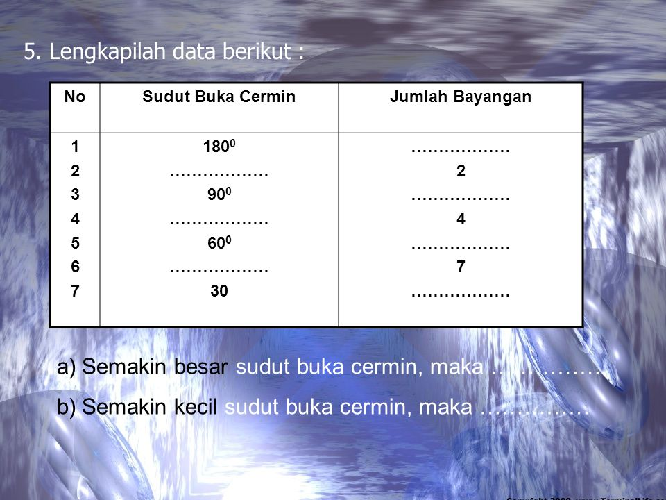 5. Lengkapilah data berikut :