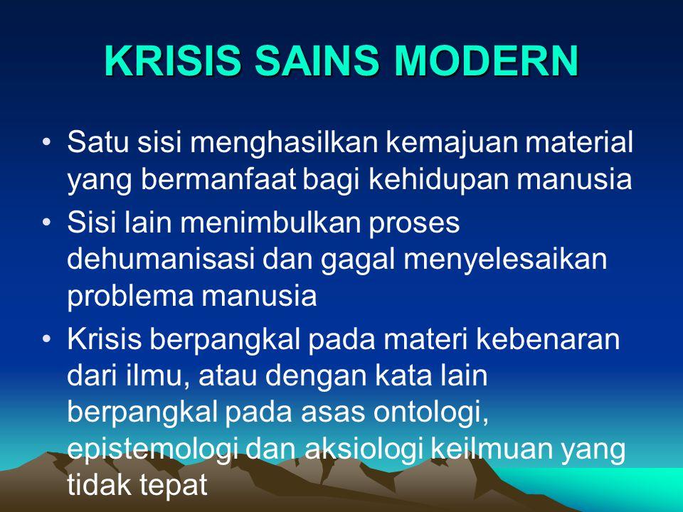 KRISIS SAINS MODERN Satu sisi menghasilkan kemajuan material yang bermanfaat bagi kehidupan manusia.