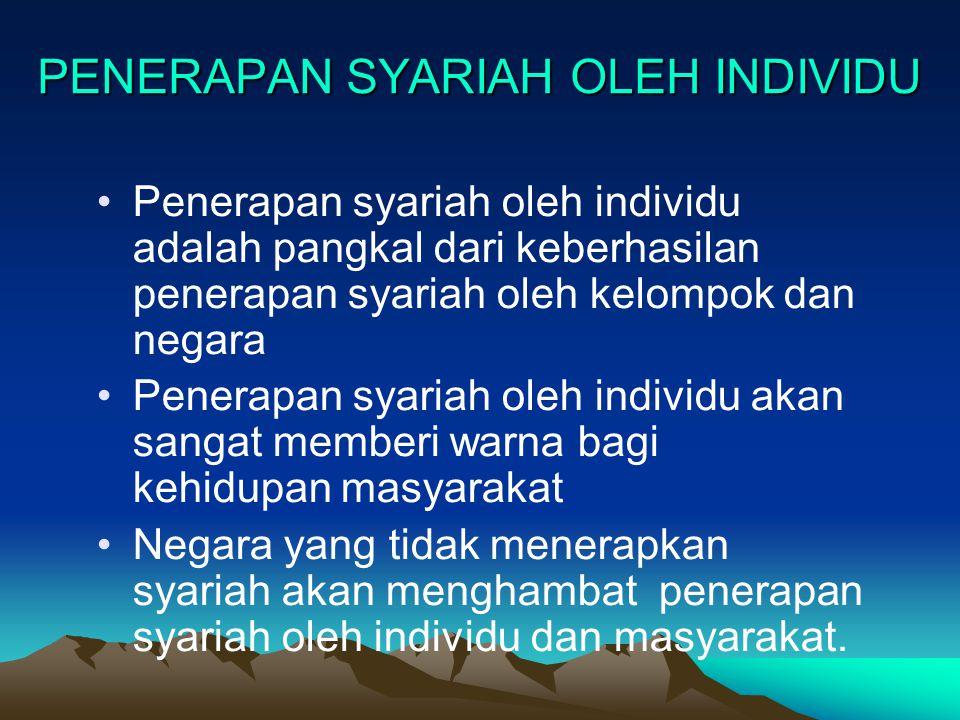 PENERAPAN SYARIAH OLEH INDIVIDU