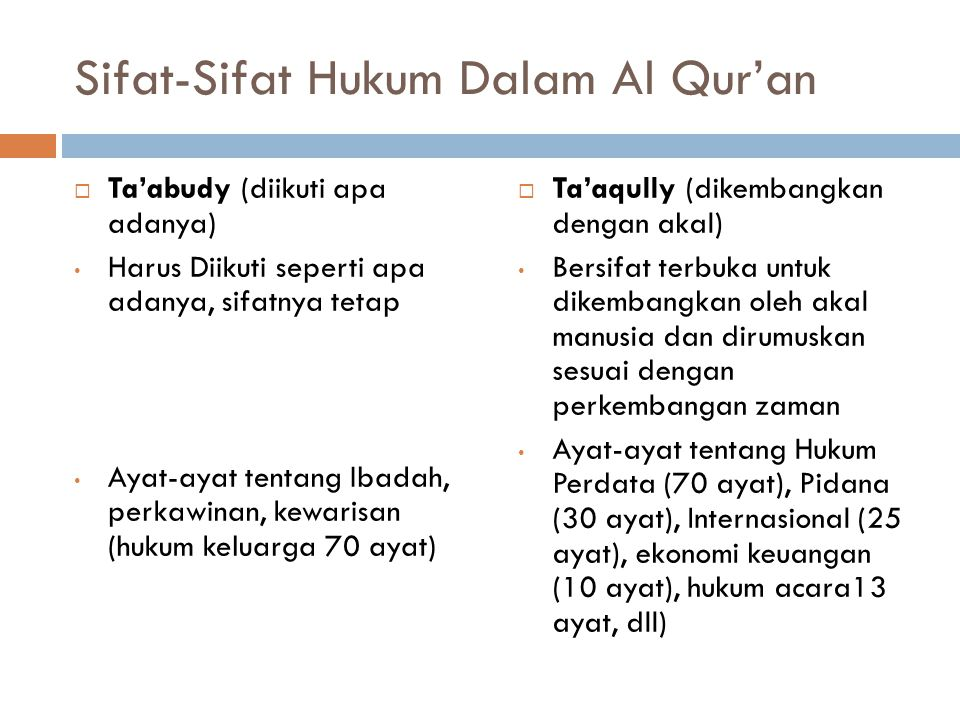 Sifat-Sifat Hukum Dalam Al Qur'an