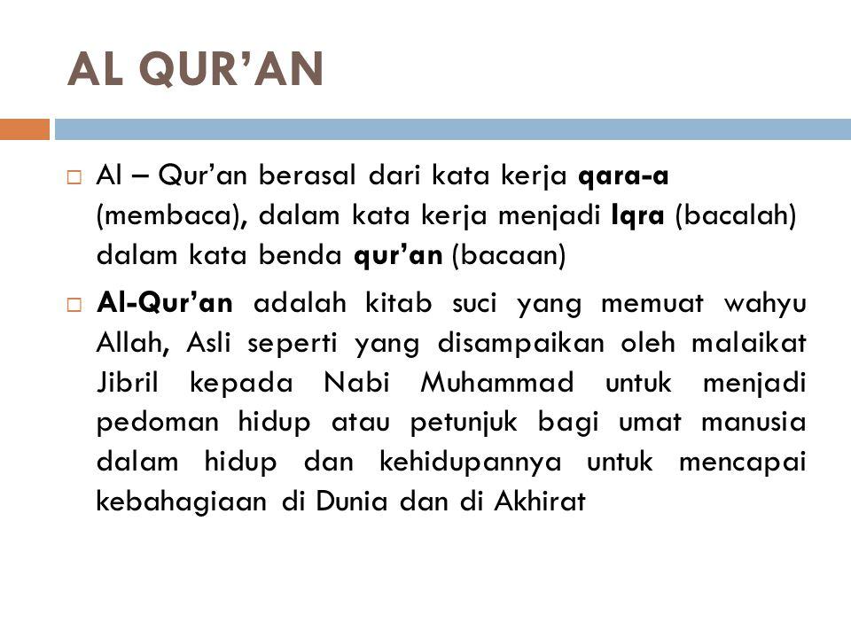 AL QUR'AN Al – Qur'an berasal dari kata kerja qara-a (membaca), dalam kata kerja menjadi Iqra (bacalah) dalam kata benda qur'an (bacaan)