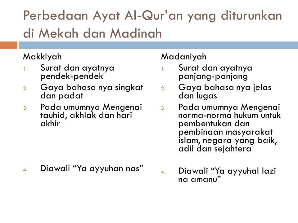 Perbedaan Ayat Al-Qur'an yang diturunkan di Mekah dan Madinah