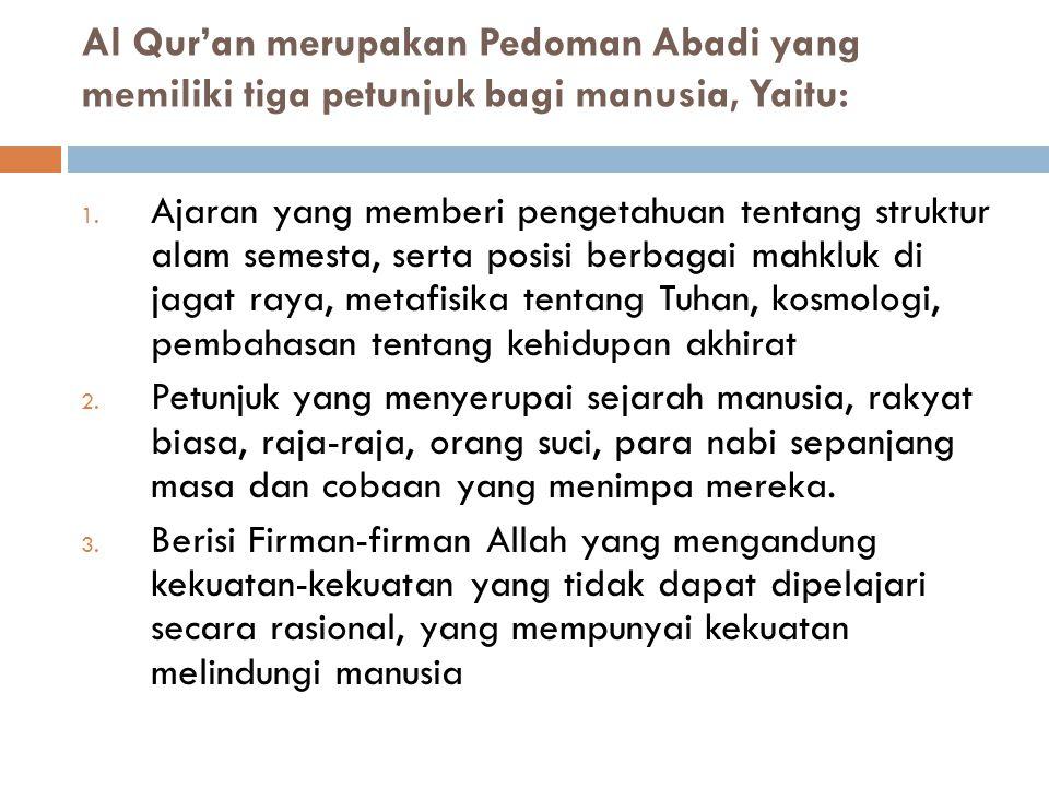 Al Qur'an merupakan Pedoman Abadi yang memiliki tiga petunjuk bagi manusia, Yaitu: