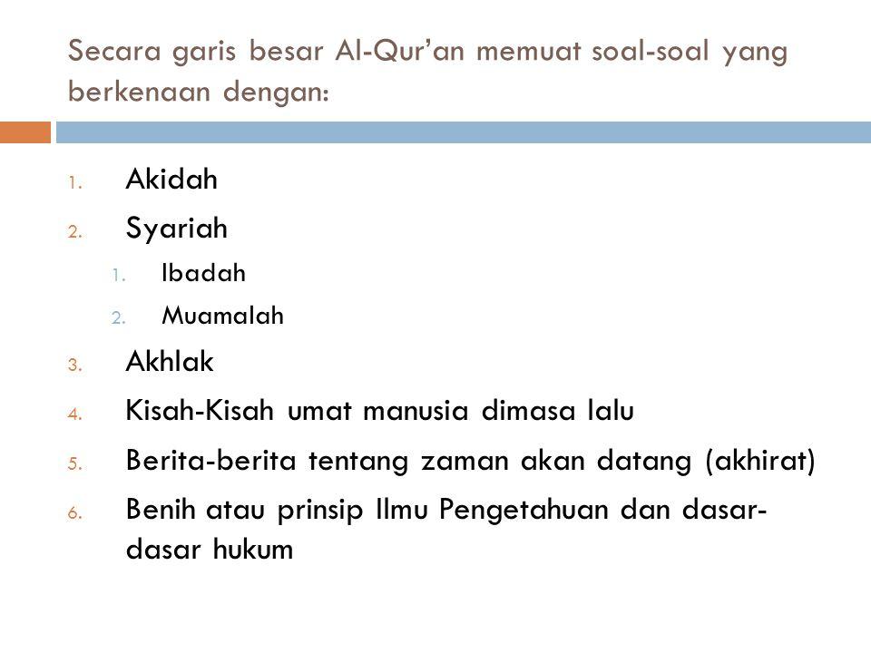 Secara garis besar Al-Qur'an memuat soal-soal yang berkenaan dengan: