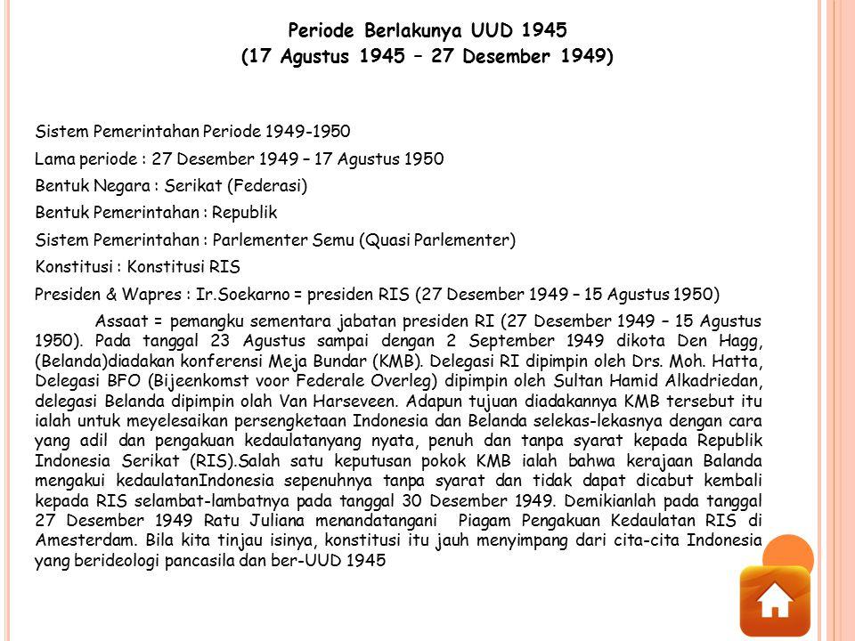 Periode Berlakunya UUD 1945