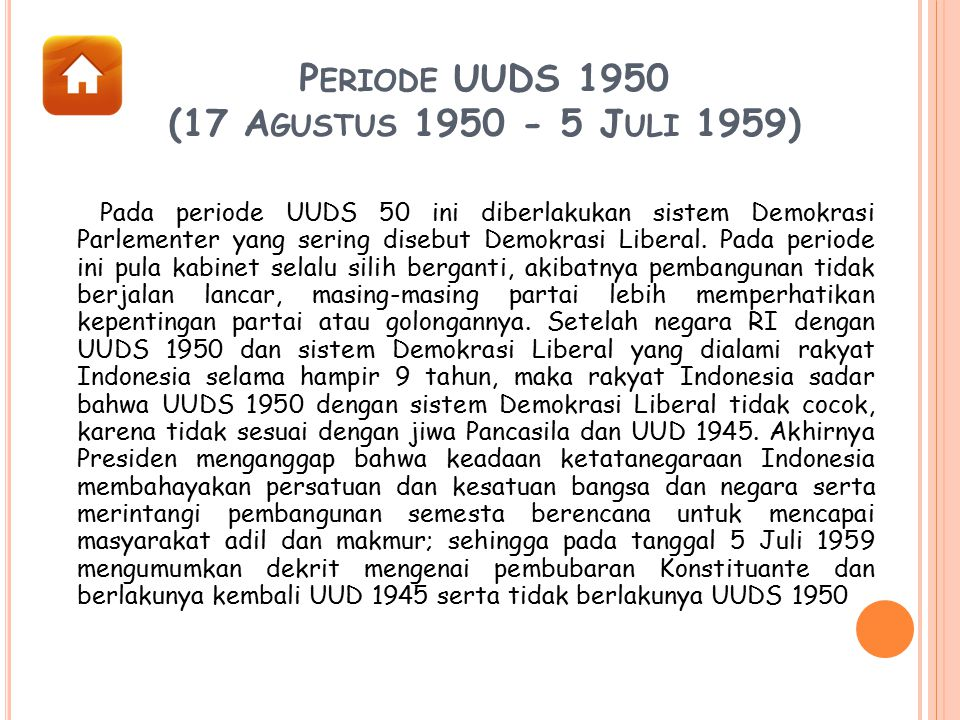 Periode UUDS 1950 (17 Agustus 1950 - 5 Juli 1959)