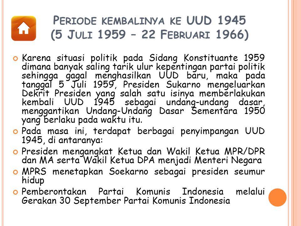 Periode kembalinya ke UUD 1945 (5 Juli 1959 – 22 Februari 1966)