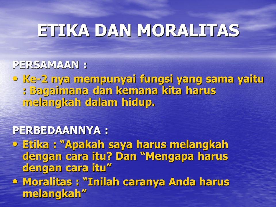ETIKA DAN MORALITAS PERSAMAAN :