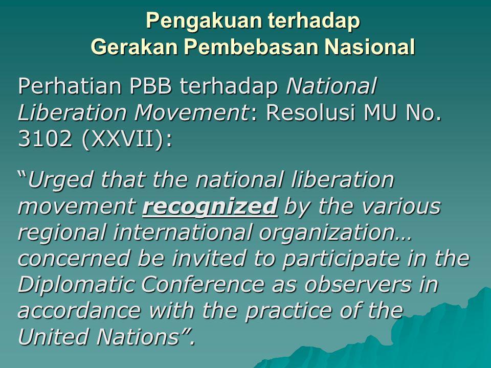 Pengakuan terhadap Gerakan Pembebasan Nasional