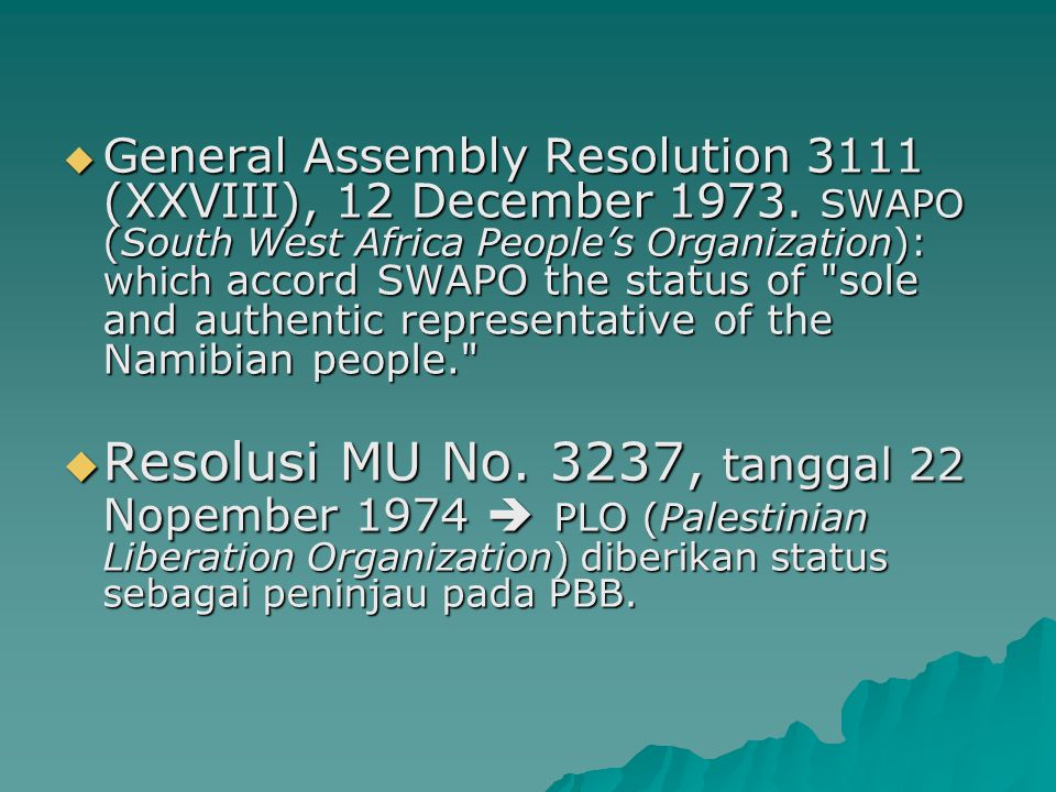 General Assembly Resolution 3111 (XXVIII), 12 December 1973