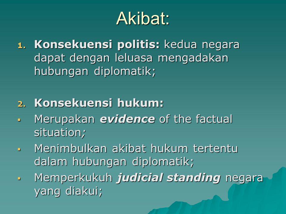 Akibat: Konsekuensi politis: kedua negara dapat dengan leluasa mengadakan hubungan diplomatik; Konsekuensi hukum: