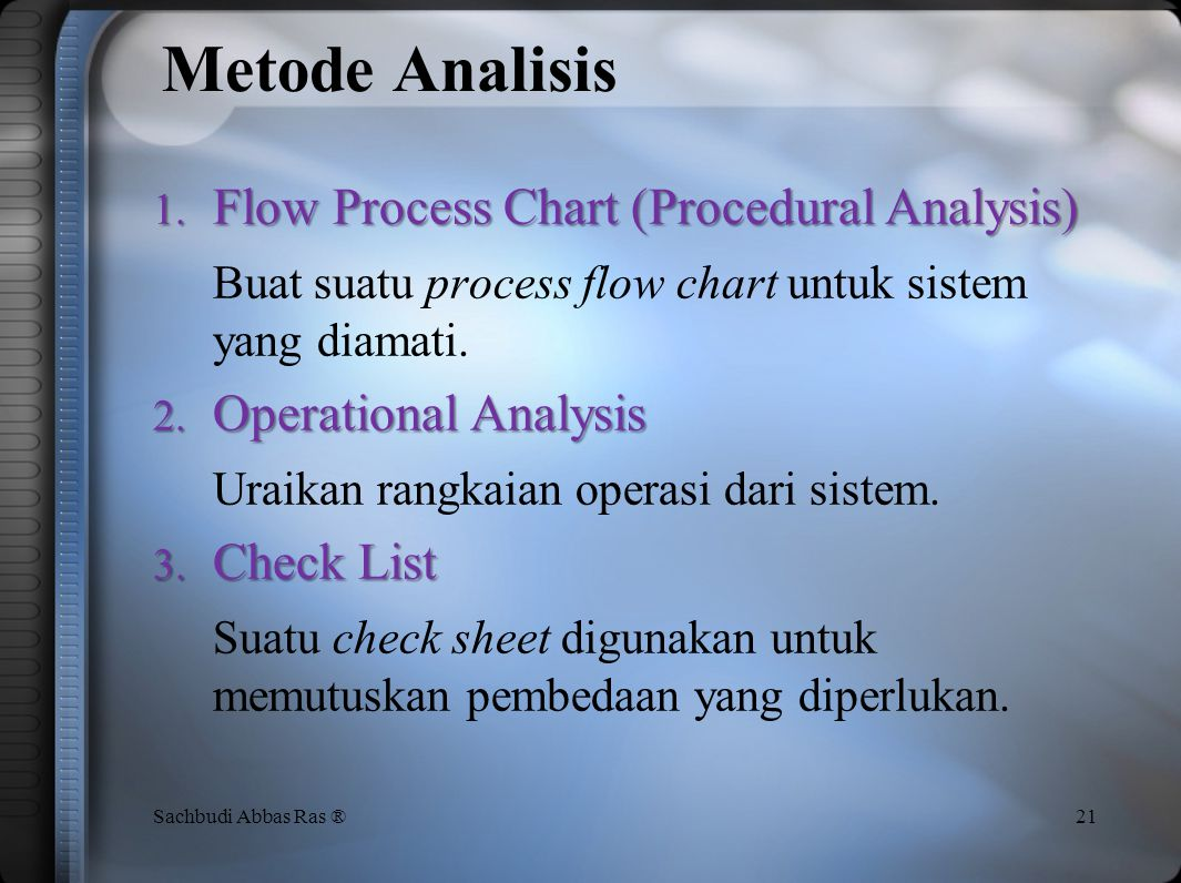 Metode Analisis Flow Process Chart (Procedural Analysis)