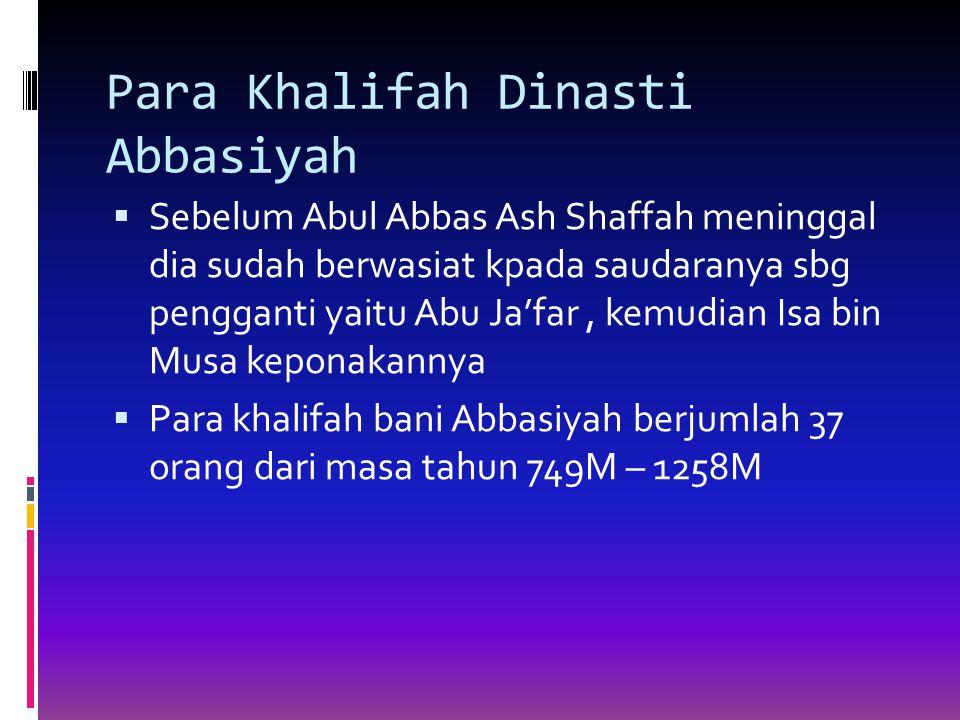 Para Khalifah Dinasti Abbasiyah