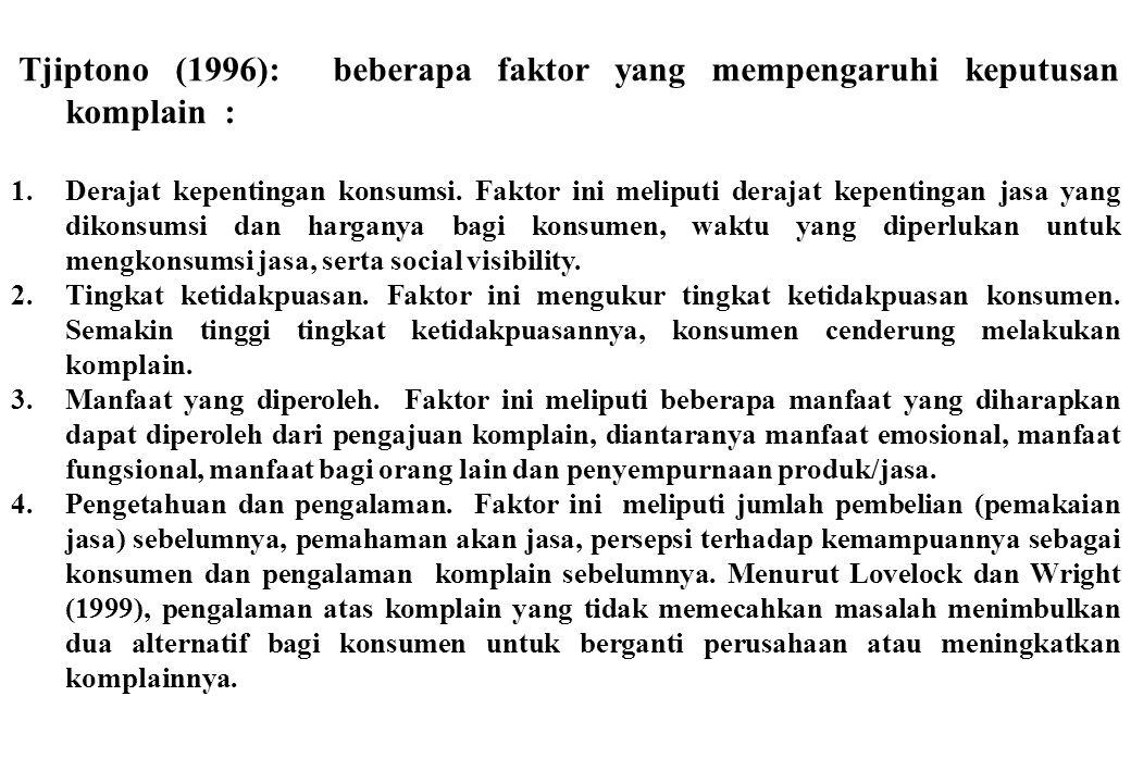 Tjiptono (1996): beberapa faktor yang mempengaruhi keputusan komplain :
