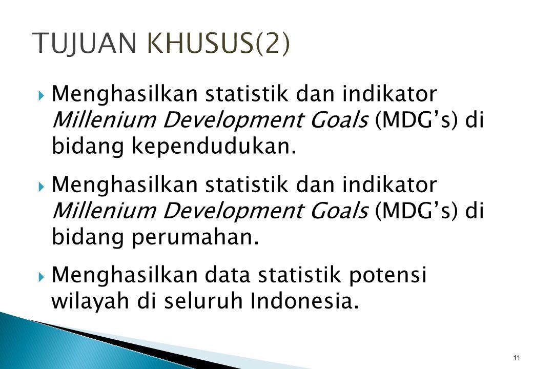 TUJUAN KHUSUS(2) Menghasilkan statistik dan indikator Millenium Development Goals (MDG's) di bidang kependudukan.