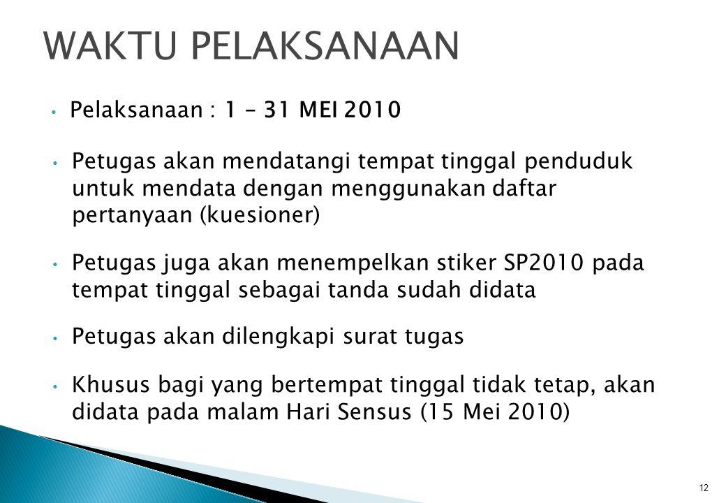 WAKTU PELAKSANAAN Pelaksanaan : 1 – 31 MEI 2010