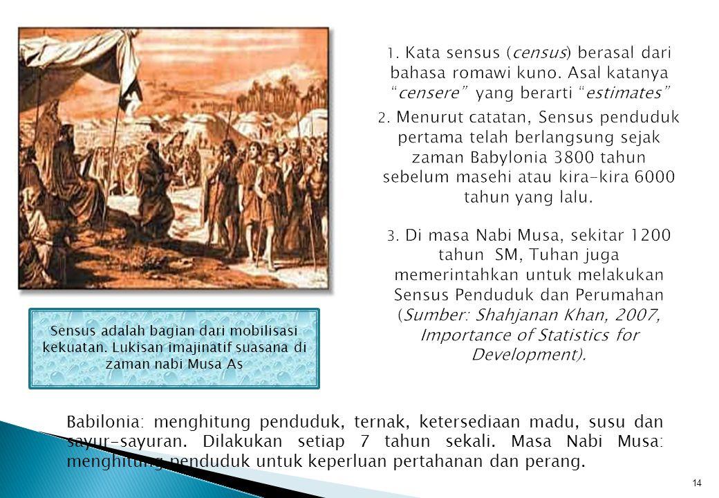 1. Kata sensus (census) berasal dari bahasa romawi kuno