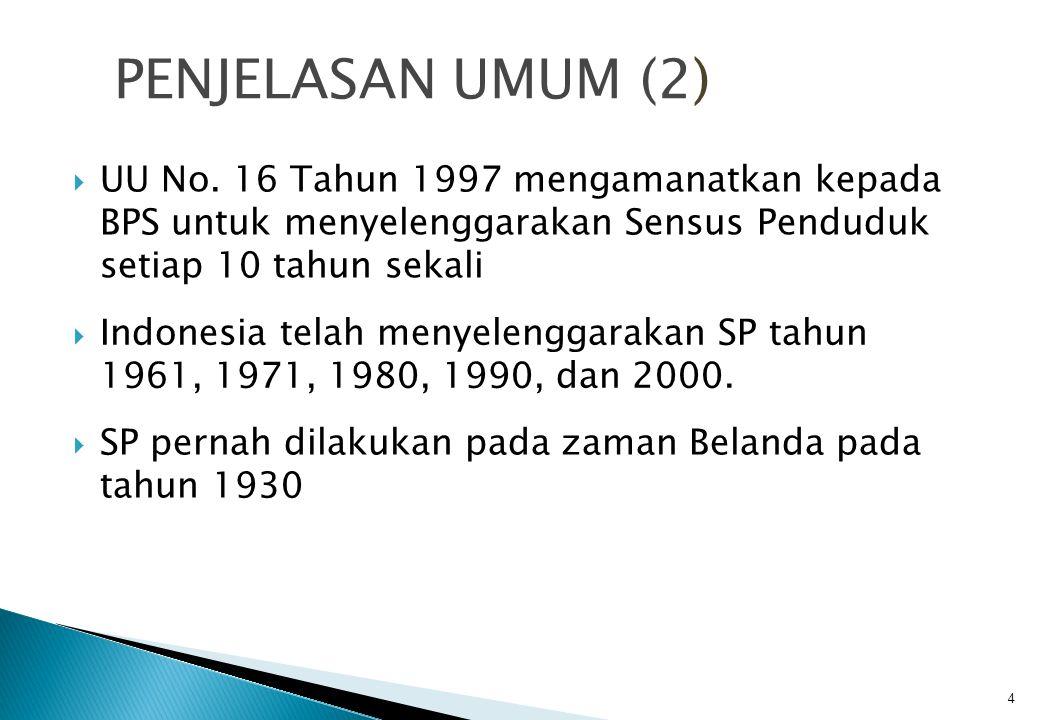 PENJELASAN UMUM (2) UU No. 16 Tahun 1997 mengamanatkan kepada BPS untuk menyelenggarakan Sensus Penduduk setiap 10 tahun sekali.
