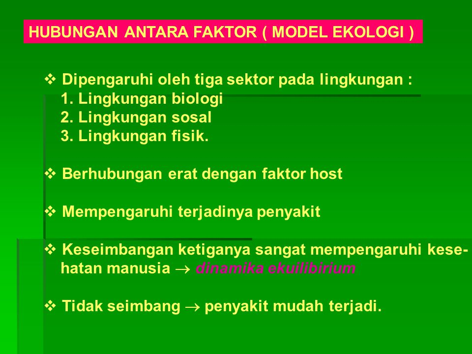 HUBUNGAN ANTARA FAKTOR ( MODEL EKOLOGI )