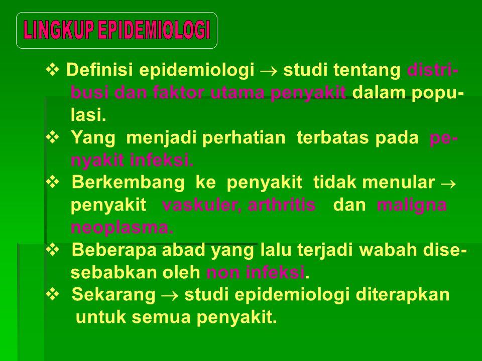 Definisi epidemiologi  studi tentang distri-