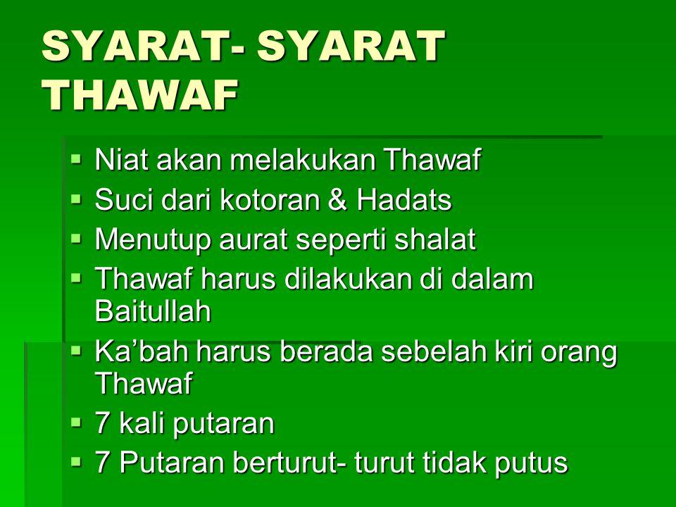SYARAT- SYARAT THAWAF Niat akan melakukan Thawaf