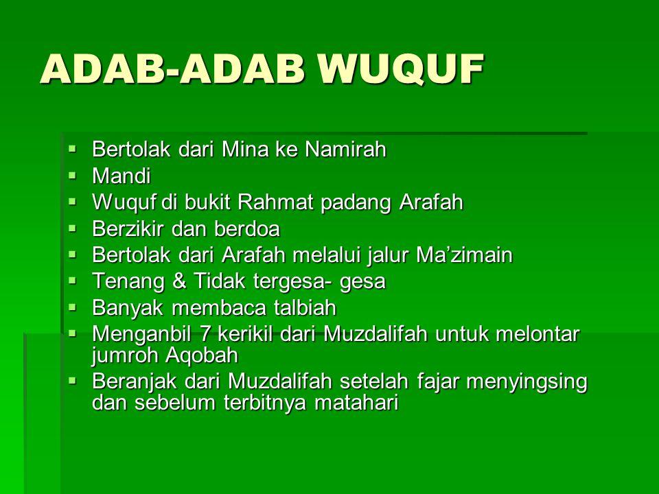 ADAB-ADAB WUQUF Bertolak dari Mina ke Namirah Mandi