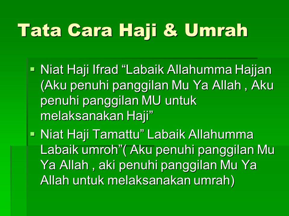 Tata Cara Haji & Umrah Niat Haji Ifrad Labaik Allahumma Hajjan (Aku penuhi panggilan Mu Ya Allah , Aku penuhi panggilan MU untuk melaksanakan Haji